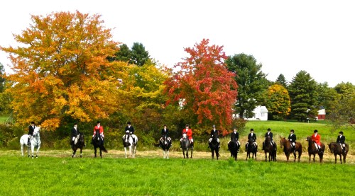 The hunt ended in this lovely field surrounded by fall colors.