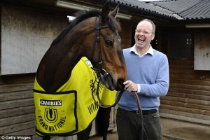This is how you look when your first entry to the Grand National wins! Dr. Richard Newland with Pineau de Re.