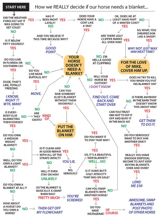 I love this chart from Jody Lynn Warner. Trot over the Chronicle of the Horse to see her article, The Blanket Clause.