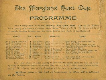 Program fro 1804 Hunt Cup