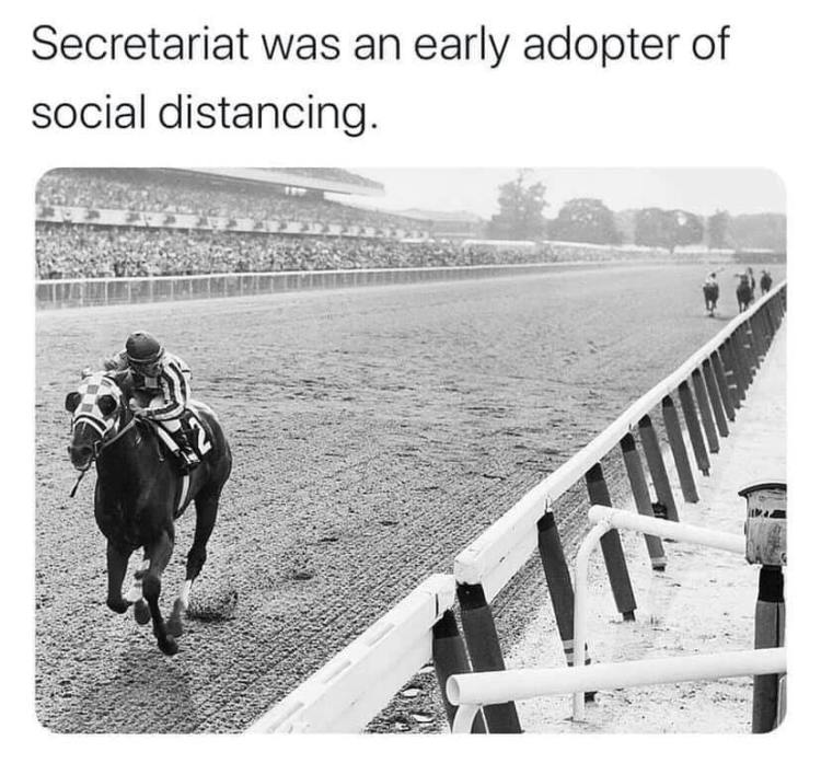 Secretariat demonstrates social distancing