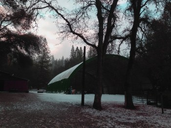 Snow on the covered arena