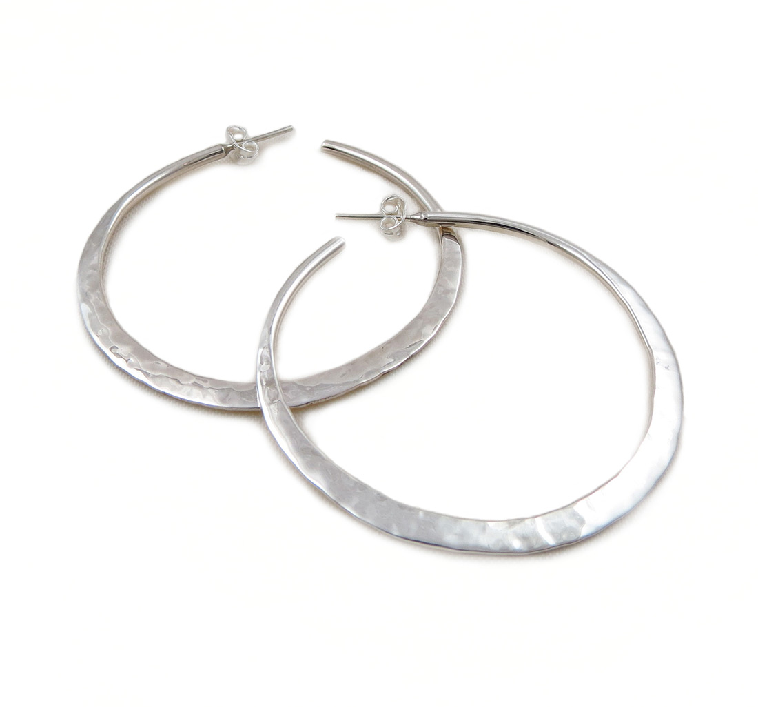 Hoops 925 Sterling Silver Hammered Large Circle Hoop