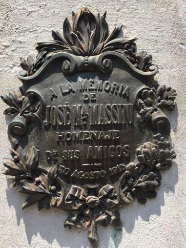 A family grave marker in Recoleta Cemetery