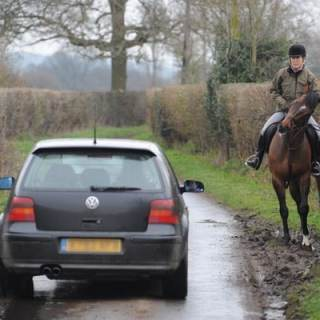 Photo: Steve Bardens, car passing rider in country lane