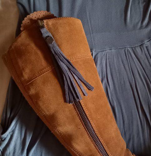 grey boot tassels