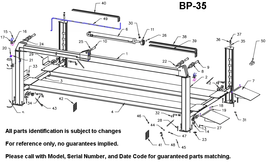 Parts Diagram for Bend Pak BP-35