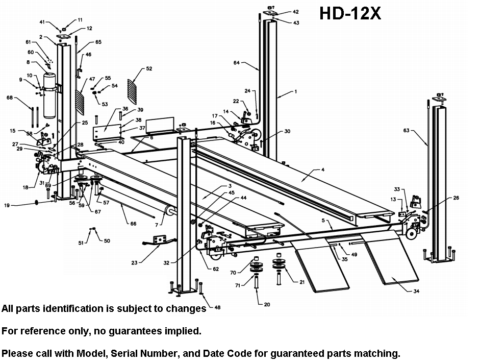 Parts Diagram for Bend Pak HD-12X