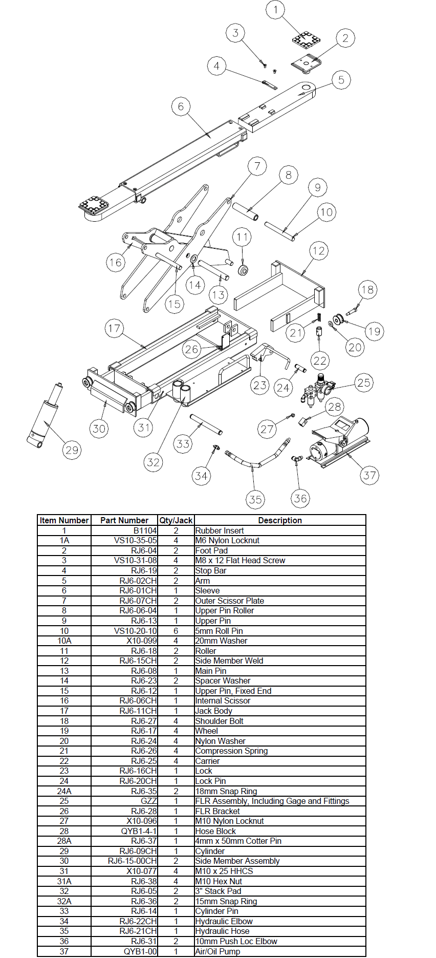 Parts Diagram for Challenger RJ6