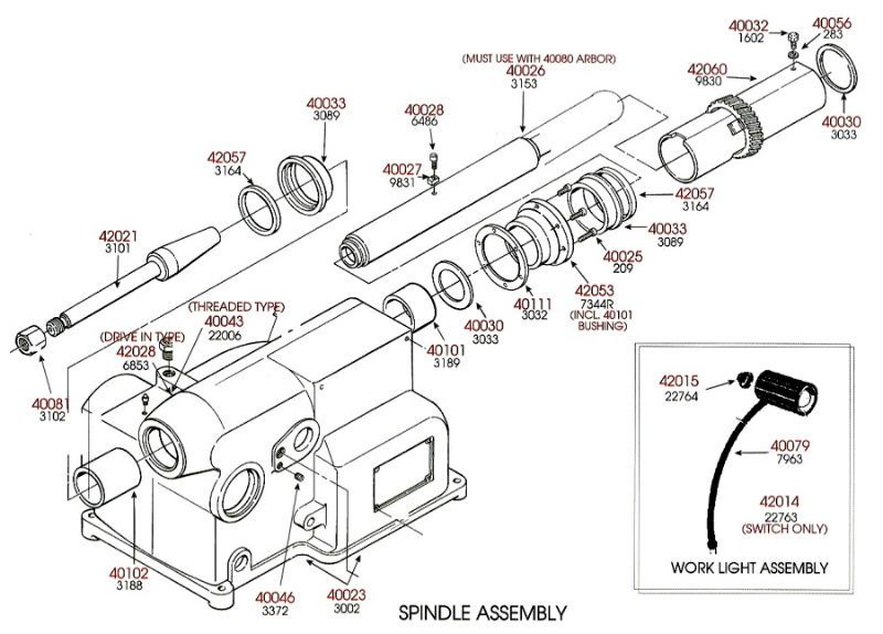 Brake Lathe Parts Breakdown, Spindle Assembly, for Ammco