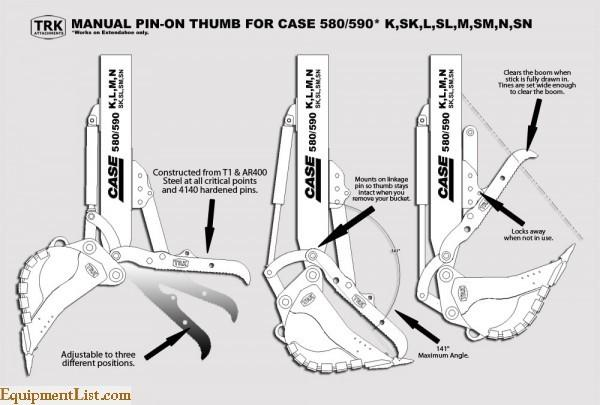 Hydraulic & Manual Thumbs for Case 580 Backhoe Loaders