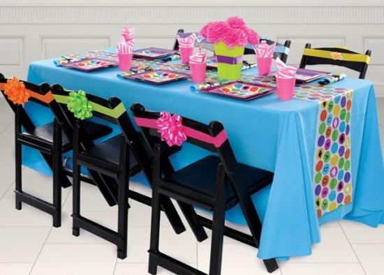 decorated table and chairs party equipment rental