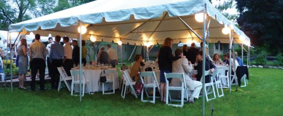 party taking place in a tent, party equipment rental