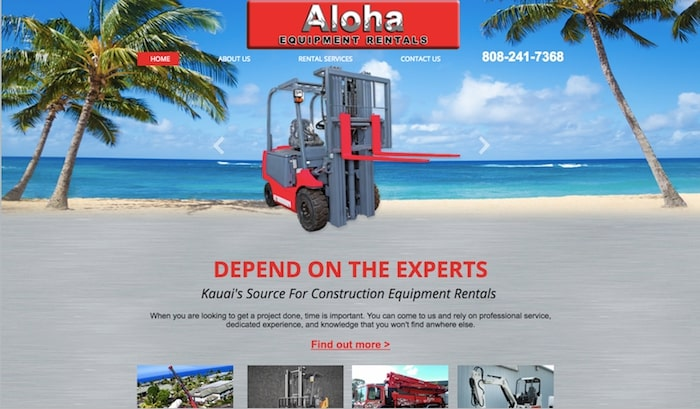 aloha equipment rentals website