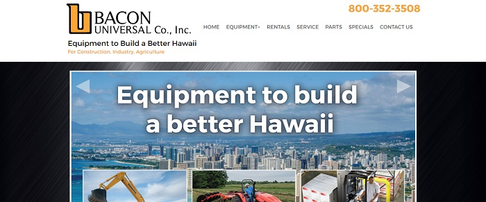 construction equipment rental hawaii bacon universal