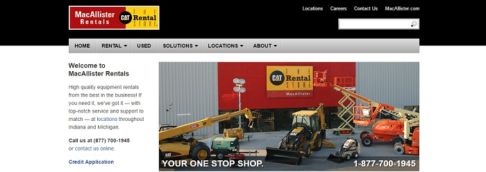 construction equipment rental indiana macallister rentals