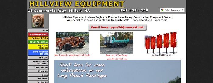 construction equipment rental massachusetts hillview