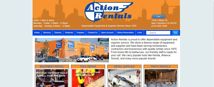 construction equipment rental california action rentals home page