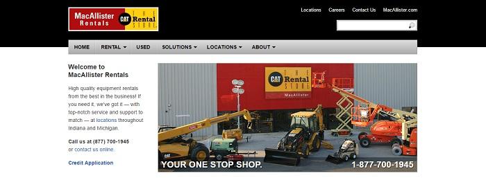 construction equipment rental michigan MacAllister Rentals