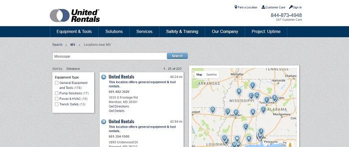 construction equipment rental mississippi