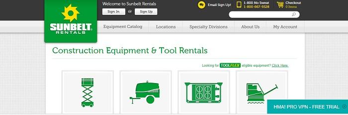 construction equipment rental arkansas sunbelt rentals