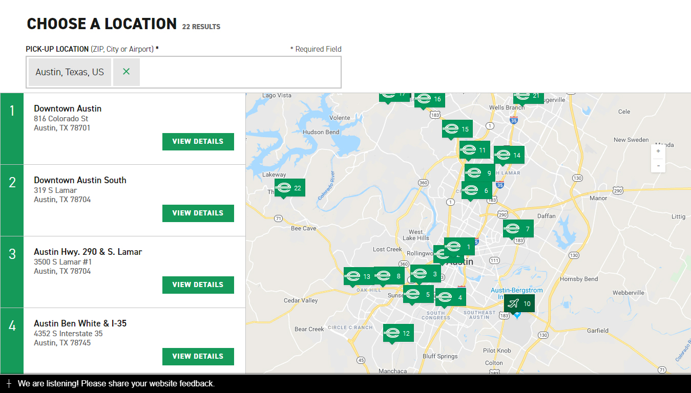 enterprise rent a car locations