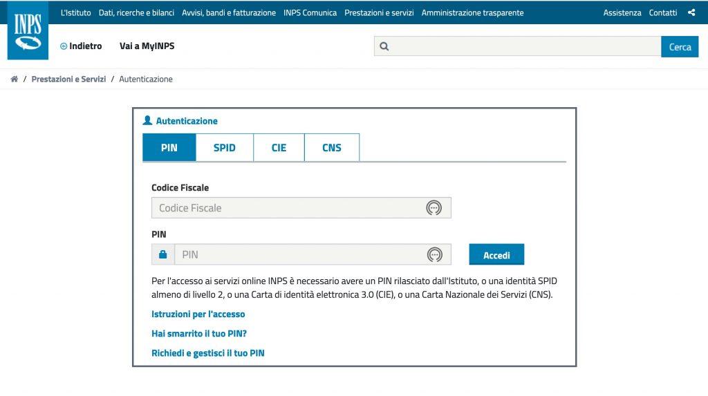 autenticazione portale inps