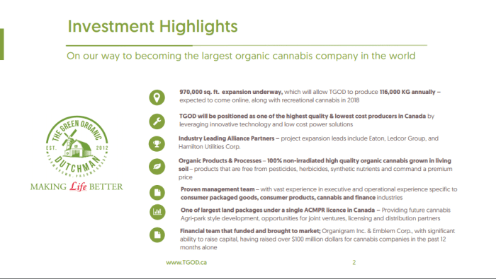 Green Organic Dutchman Tgod Opens Another Pre Listing Financing To