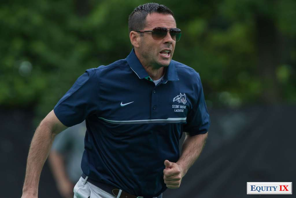 Joe Spallina - Head Coach Stony Brook runs with sunglasses to lead his lacrosse team to a national women's lacrosse title © Equity IX - SportsOgram - Leigh Ernst Friestedt