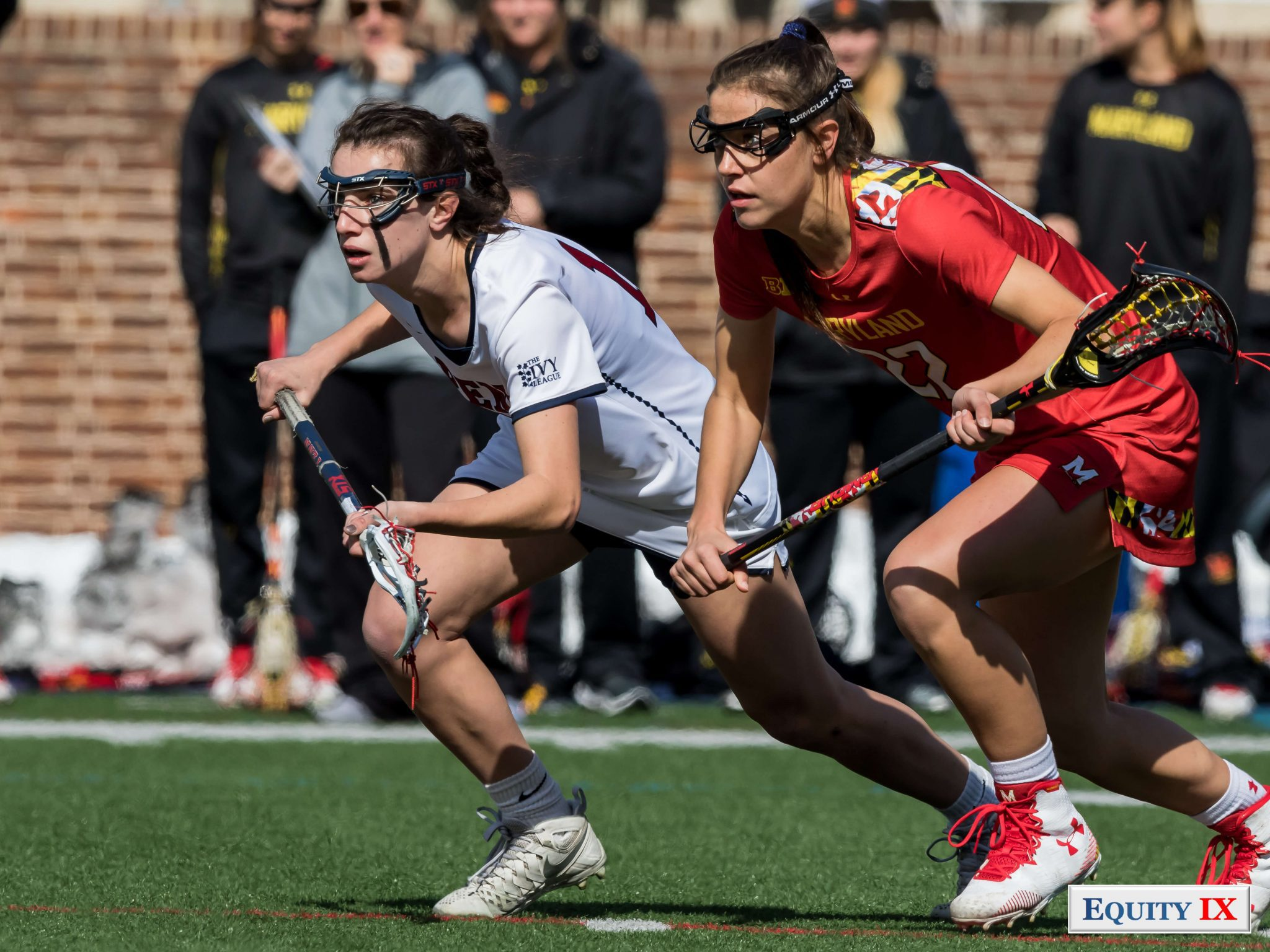 Top Freshmen: Zoe Belodeau (Penn) and Grace Griffin (Maryland) line up for draw control © Equity IX - SportsOgram