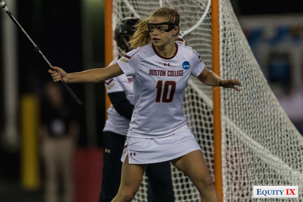 #10 Carly Bell - Boston College plays defense with lacrosse stick up at 2017 NCAA Women's Lacrosse Championship © Equity IX - SportsOgram - Leigh Ernst Friestedt