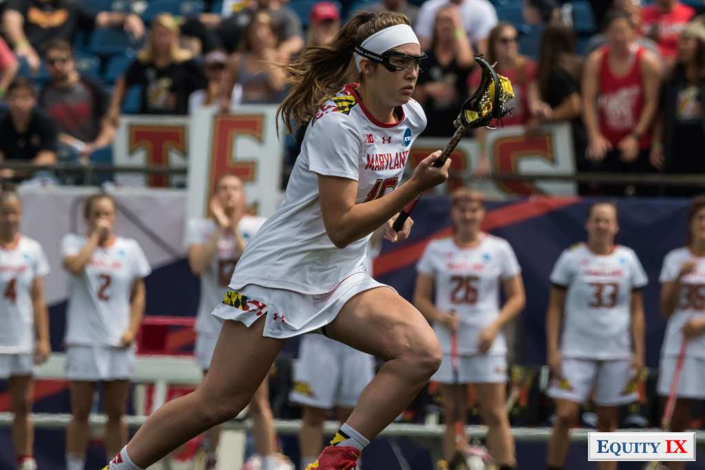 #16 Kali Hartshorn drives to goa strong with a white head band and googles - Maryland - NCAA Women's Lacrosse © Equity IX - SportsOgram - Leigh Ernst Friestedt