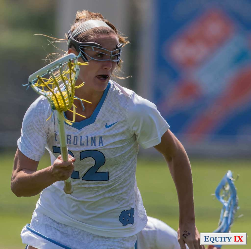 #22 Maggie Bill - UNC Women's Lacrosse cradles the ball one handed at ACC Women's Lacrosse Championship © Equity IX - SportsOgram - Leigh Ernst Friestedt