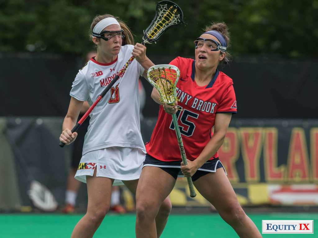 2017 NCAA Women's Lacrosse Quarter Finals - Maryland (13) vs Stony Brook (12) - #15 Kasey Mitchell draws against #6 Meghan Doherty - © Equity IX - SportsOgram - Leigh Ernst Friestedt