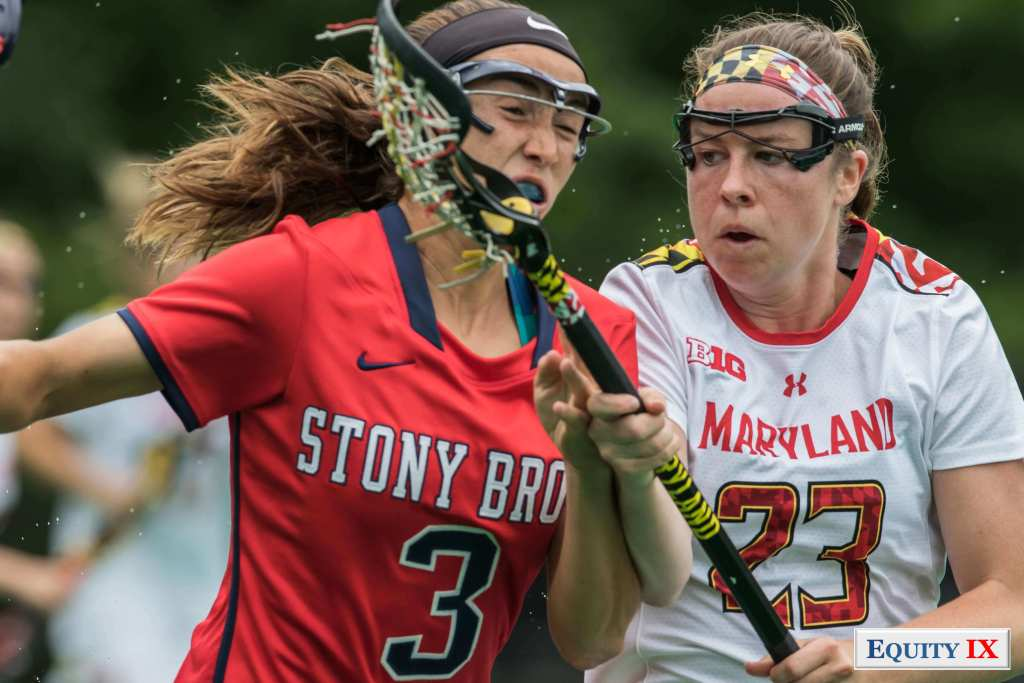 2017 NCAA Women's Lacrosse Quarter Finals - Maryland (13) vs Stony Brook (12) - #23 Megan Whittle rides #3 Mackenzie Burns as she breaks out of the defense © Equity IX - SportsOgram - Leigh Ernst Friestedt