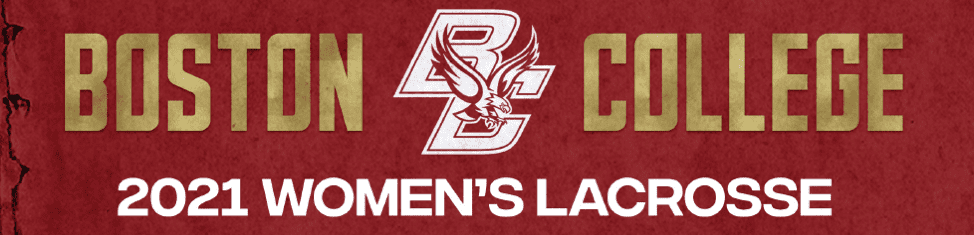 Boston College women's lacrosse 2021 National Champions with Eagles logo crimson and yellow