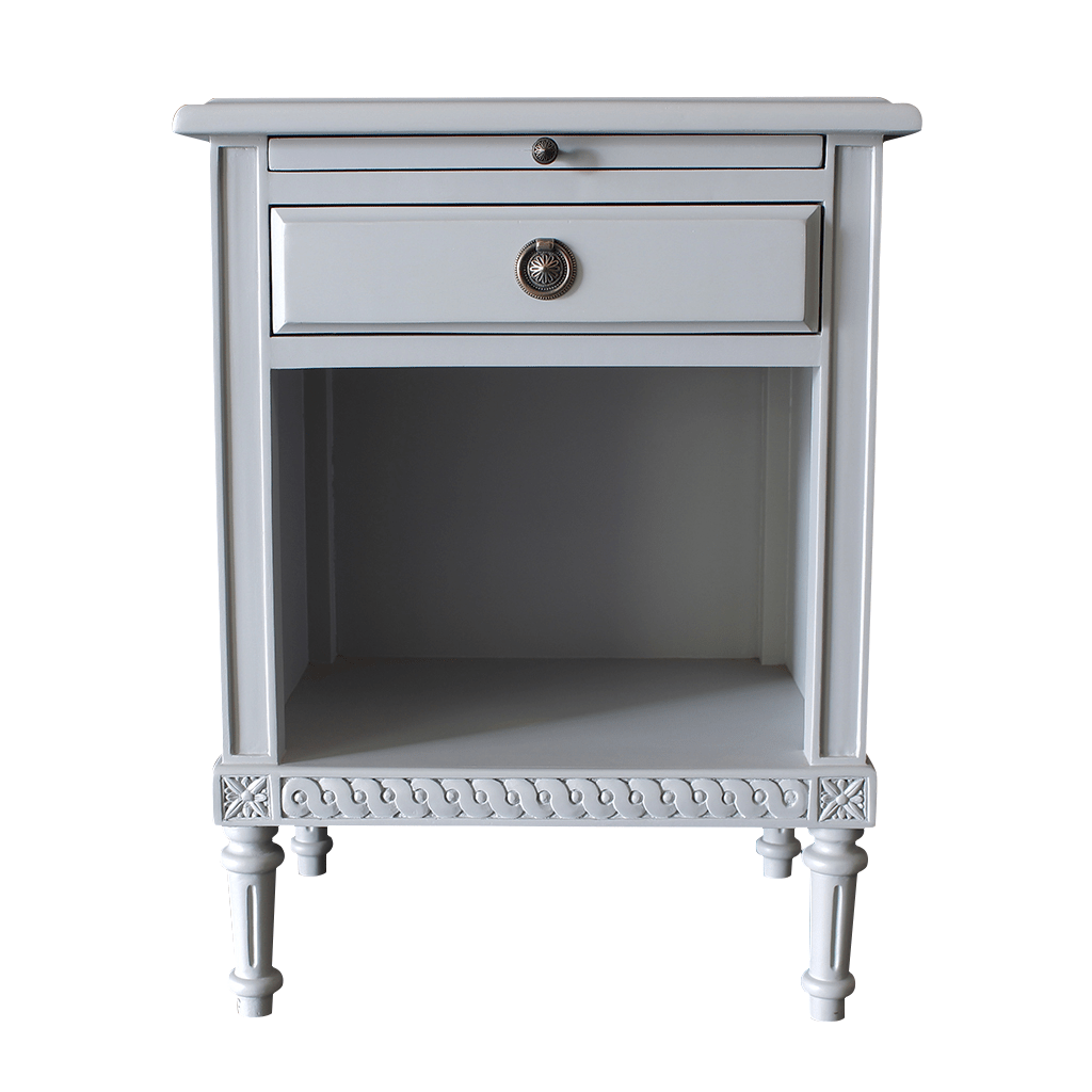 Pair Of Gustavian Bedside Tables With Drawer And Tray