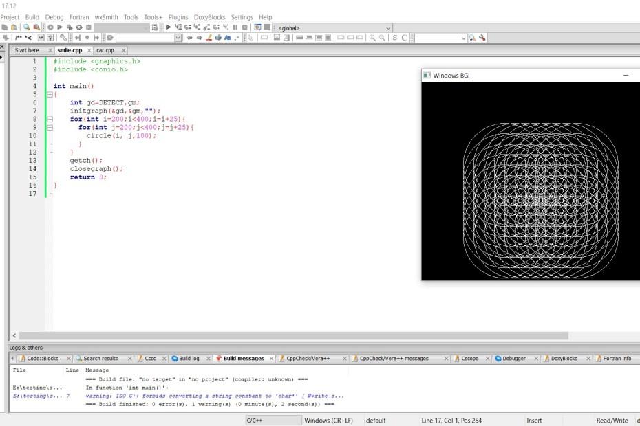 graphics in codeblocks