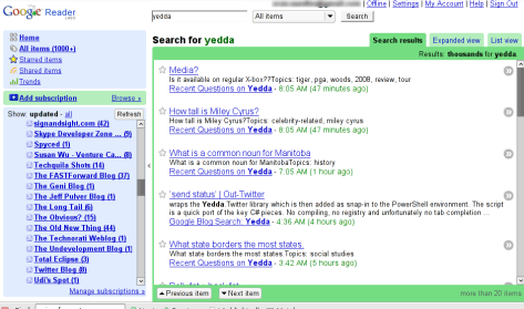 Google Reader now has search