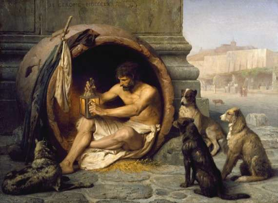 Ο Διογένης ο επικαλούμενος «Κυνικός», ή Διογένης ο Σινωπεύς ήταν αρχαίος Έλληνας φιλόσοφος. Φέρεται να γεννήθηκε στη Σινώπη περίπου το 412 π.Χ., (σύμφωνα με άλλες πηγές το 399 π.Χ.), και πέθανε το 323 π.Χ. στην Κόρινθο, σύμφωνα με τον Διογένη τον Λαέρτιο, την ημέρα που ο Αλέξανδρος ο Μέγας πέθανε στη Βαβυλώνα. Πίνακας του Jean-Léon Gérôme (1860)