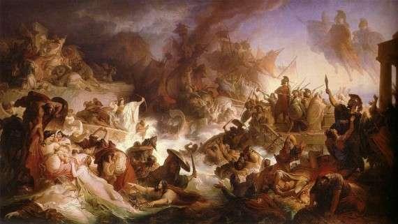 Η Ναυμαχία της Σαλαμίνας διεξήχθη στις 22 Σεπτεμβρίου του 480 π.Χ, στα Στενά της Σαλαμίνας (στον Σαρωνικό Κόλπο, κοντά στην Αθήνα) μεταξύ της συμμαχίας των ελληνικών πόλεων-κρατών και της Περσικής Αυτοκρατορίας.  The Battle of Salamis by Wilhelm von Kaulbach