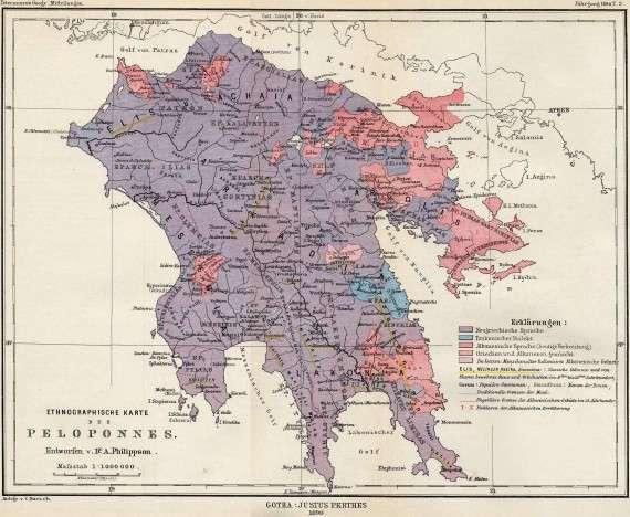 Παλιός εθνολογικός χάρτης της Πελοποννήσου (1890)  Τα Τσακώνικα σε περιοχές με μπλε χρώμα. Πηγή: wikipedia