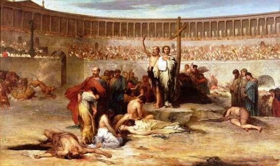 «Θρίαμβος Χριστιανών Μαρτύρων τη Εποχή του Νέρωνα» του Eugene Romain Thirion. Το Κολοσσαίο χτίστηκε 16 χρόνια μετά την πυρκαγιά της Ρώμης.