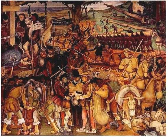 Αποικιακή κυριαρχία: O Κορτέζ στη Βερακρούζ. Diego Rivera, 1945-52.