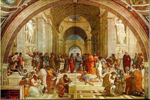 Raphael – Η σχολή των Αθηνών (1509-1511) – ο Σωκράτης αριστερά από τις δύο κεντρικές φιγούρες, Πλάτωνα και Αριστοτέλη, όρθιος, με πράσινο μανδύα, στραμένος αριστερά.