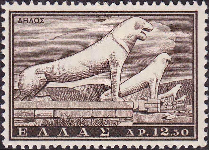 ελληνικό γραμματόσημο με τα λιοντάρια της Δήλου