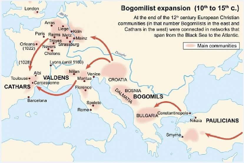 Χάρτης που δείχνει την εξάπλωση της χριστιανικής αίρεσης των Βογομίλων. Map showing the spread of the Christian Vogomilos sect