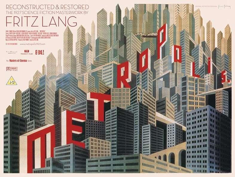 Metropolis, 1927 Η αφίσα του εμβληματικού Metropolis του Φριτζ Λανγκ είναι σχεδιασμένη από τον Μπόρις Μπιλίνσκι. Εμπνευσμένος τόσο από την ταινία, όσο και από το ρεύμα του κυβισμού, ο ρώσος γραφίστας δημιούργησε αυτό το «αρχιτεκτονικό πανηγύρι».