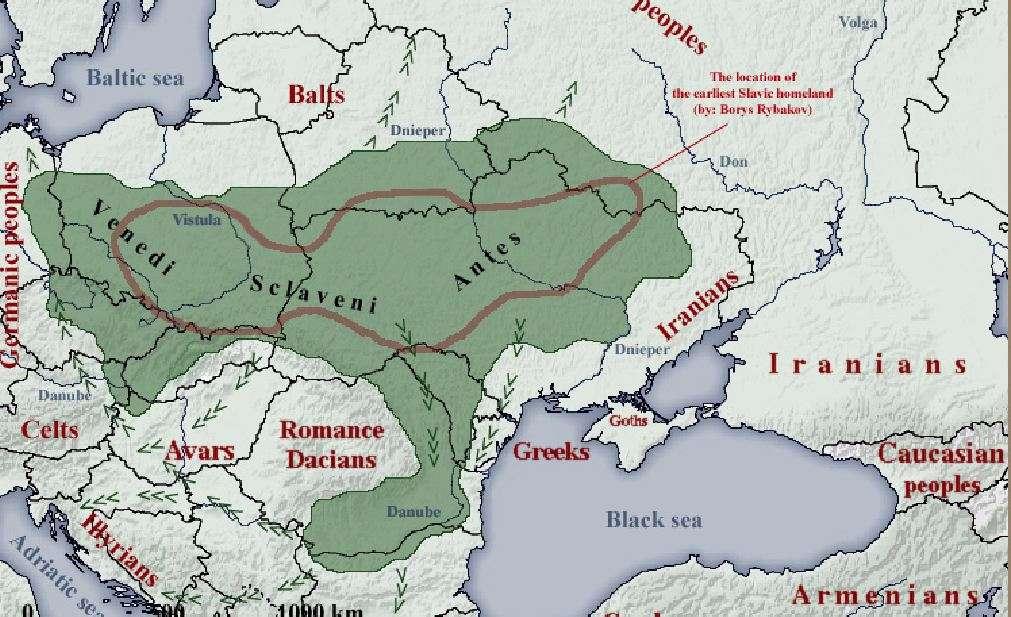 Χάρτης: Oι Σλαβικοί λαοί τον 6ο αιώνα