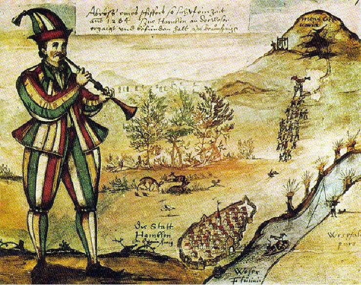 Απεικόνιση του Αυλητή του Χάμελιν, αντίγραφο διακόσμησης παραθύρου στην εκκλησία της αγοράς του Χάμελν (ταξιδιωτικό ημερολόγιο του Augustin von Moersperg 1592, Aquarell)
